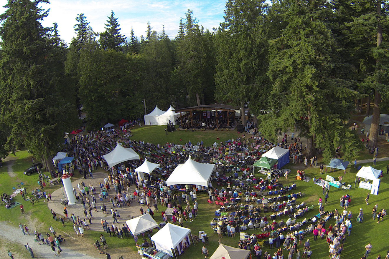 An overhead shot of the local PRISMA festival at Willingdon Beach in Powell River