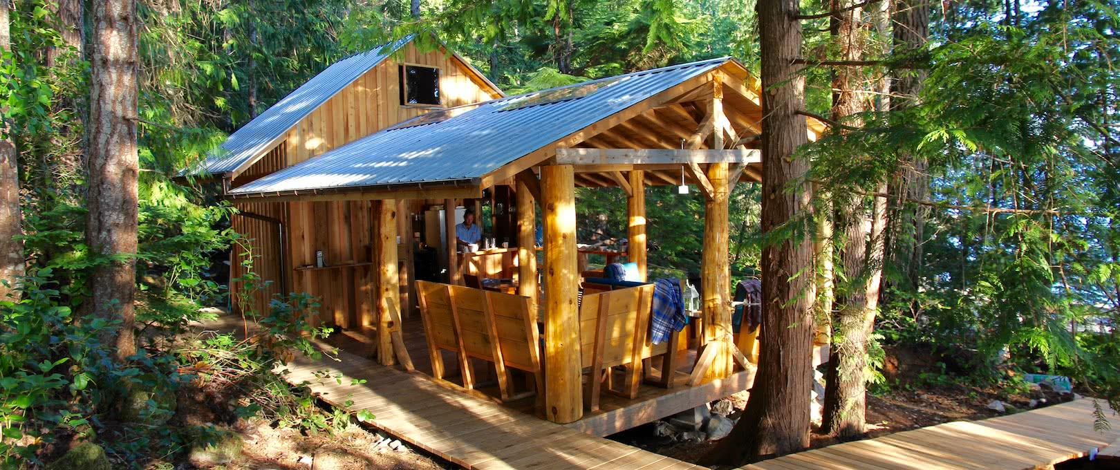 The handcrafted Cabana Cafe with nestled in the BC rainforest in Desolation Sound