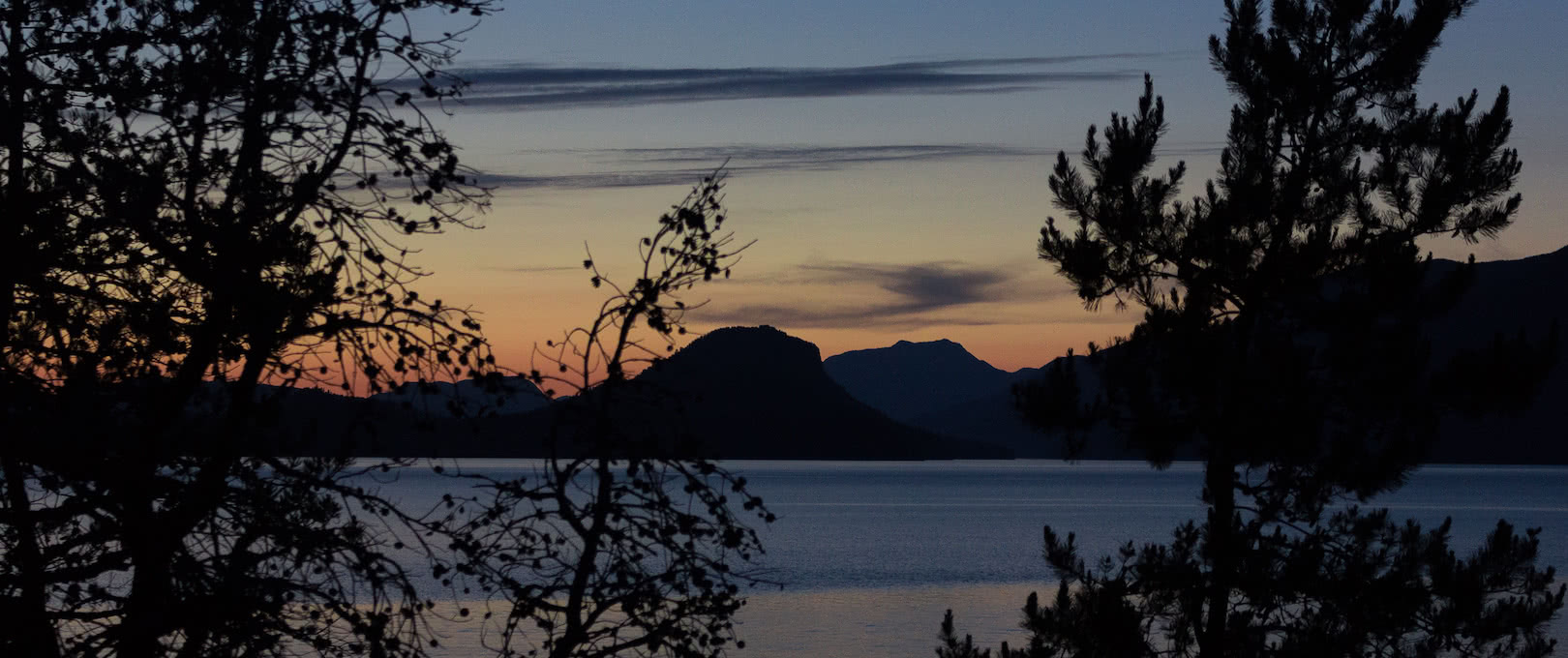 Sunset over Cortes Island in Desolation Sound seen from the eco resort