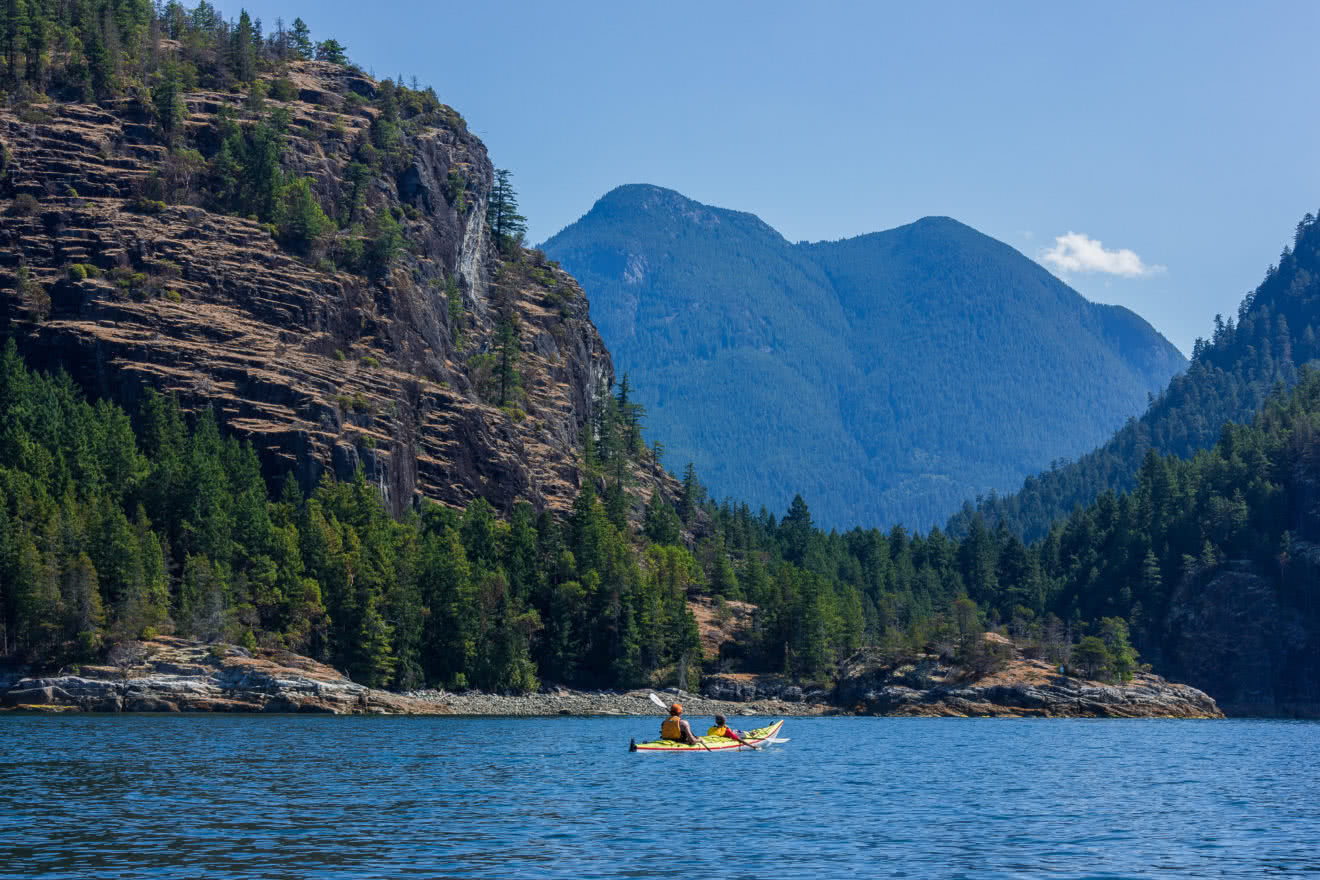 Two guests on a Guided Kayak Package in Desolation Sound Marine Park