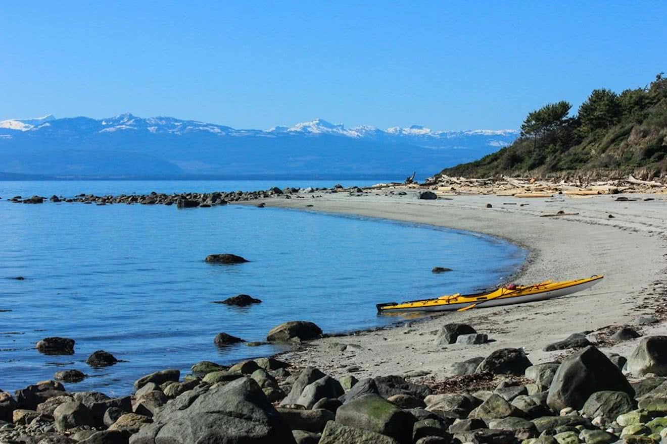 A kayak on one of the many sandy beaches of Savary Island