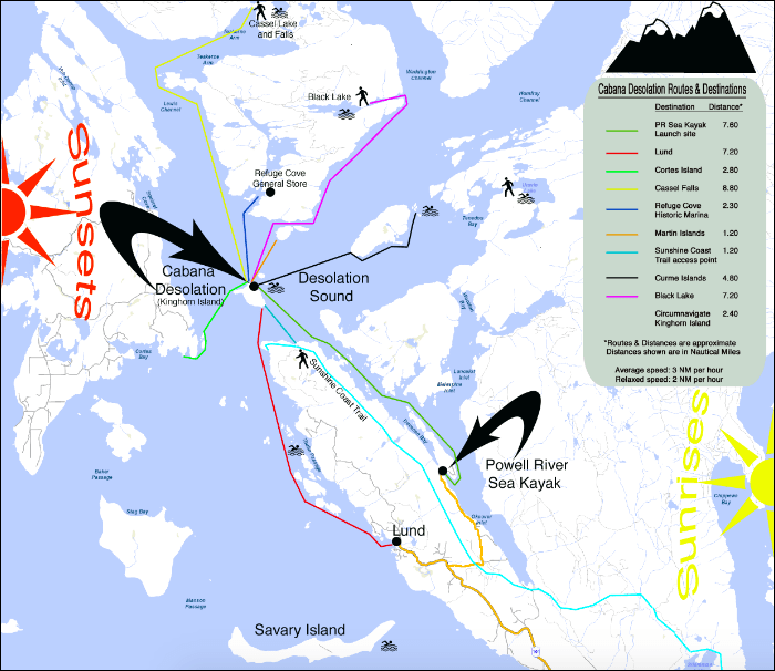 A map of kayaking routes in Desolation Sound, British Columbia