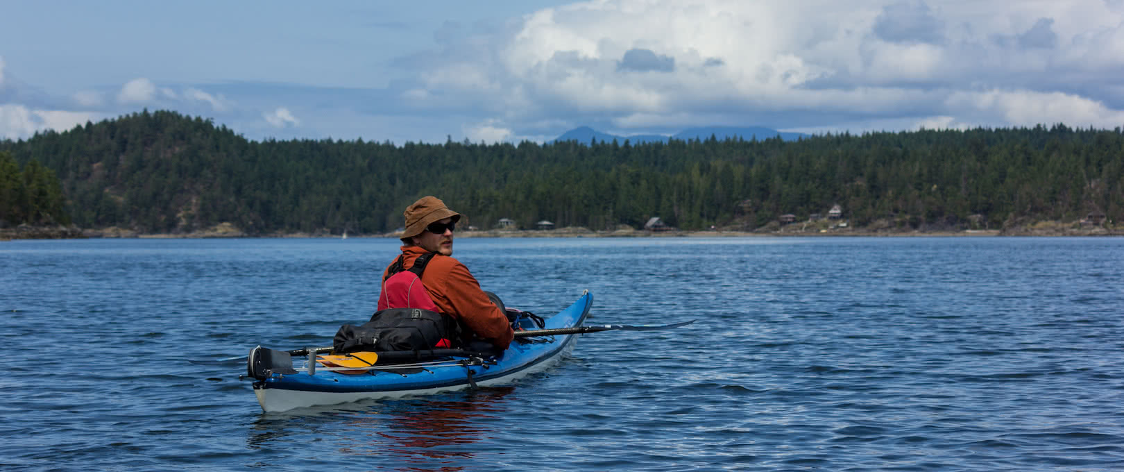 An experienced kayaker waiting for guests in Desolation Sound