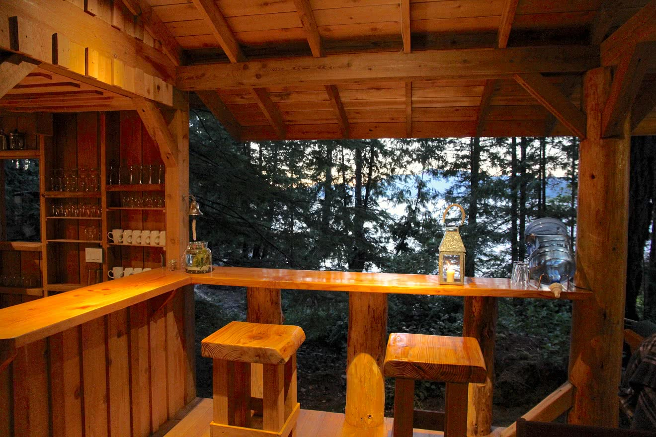 The Cabana Cafe bar at night at our off-grid eco resort