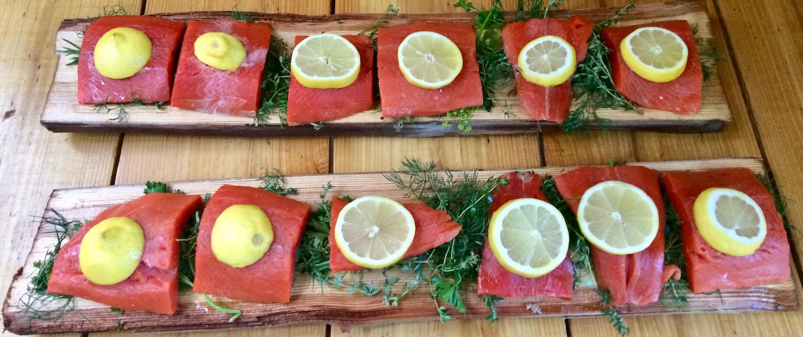 Cedar planked salmon ready for the BBQ showing our commitment to west coast cuisine