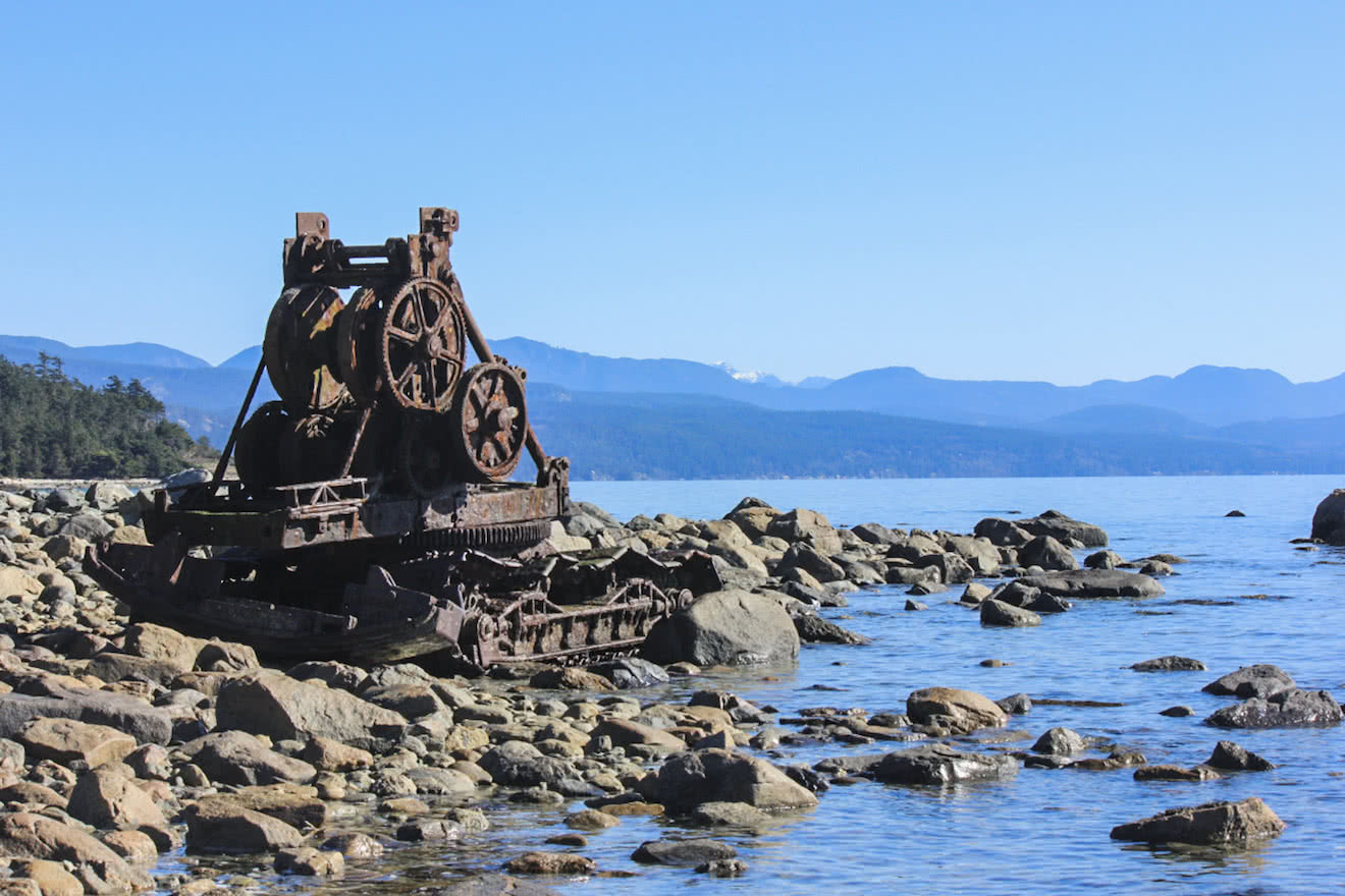 Old logging equipment sits on one of Savary Island's southern beaches