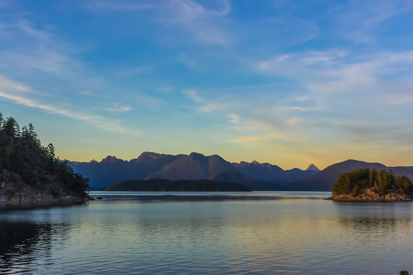 A beautiful sunset over British Columbia's Coast Mountains in Desolation Sound