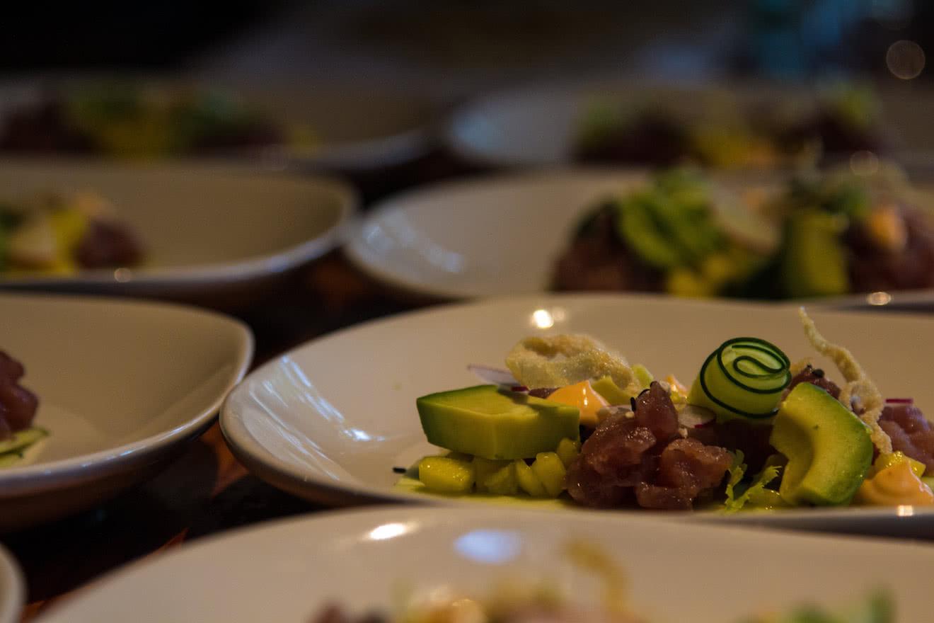 A creative appetizer of ahi tuna, cucumber, avocado & sesame aioli at our off-grid eco resort