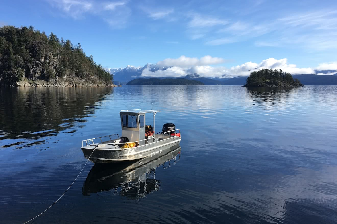 Our motor vessel anchored off the point at our Sunshine Coast resort in Desolation Sound, British Columbia