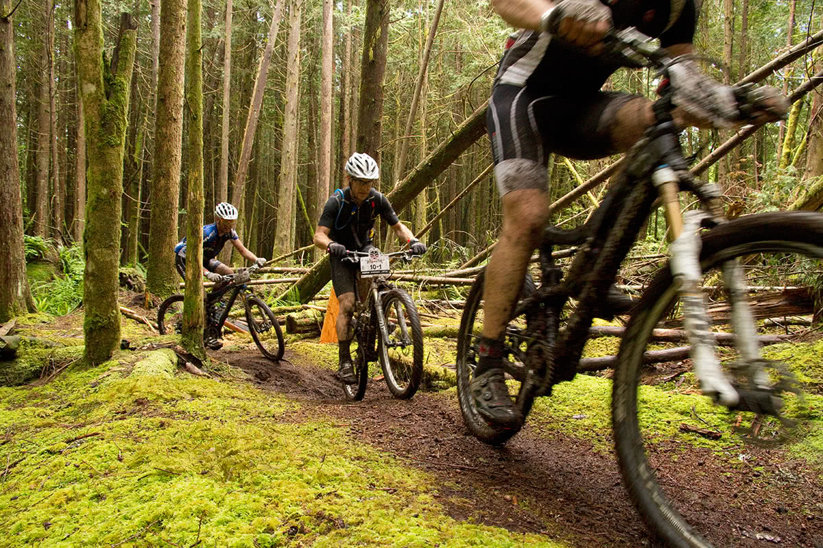 Local enthusiasts mountain biking on the Powell River trails