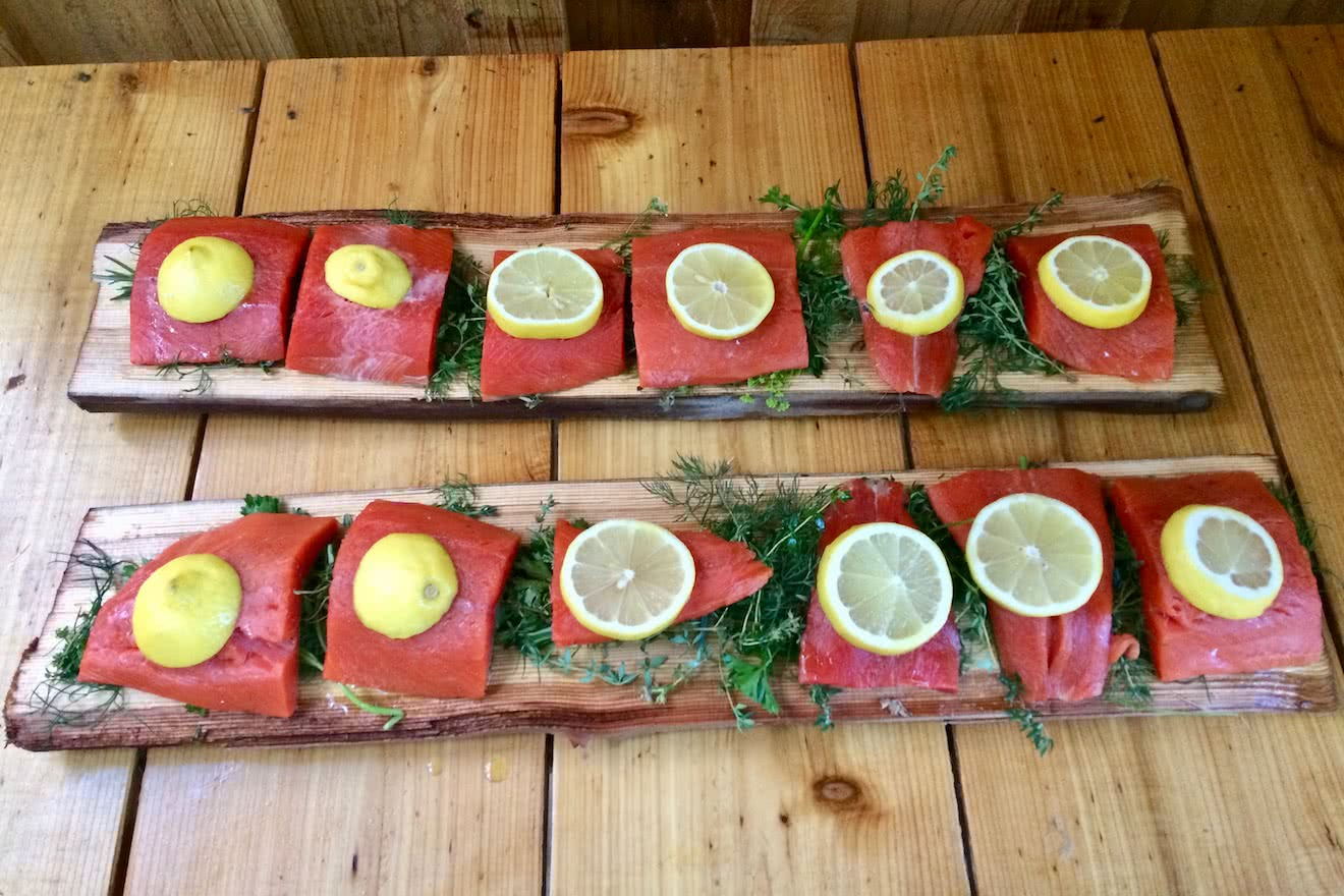 Cedar planked smoked salmon ready to go on the BBQ