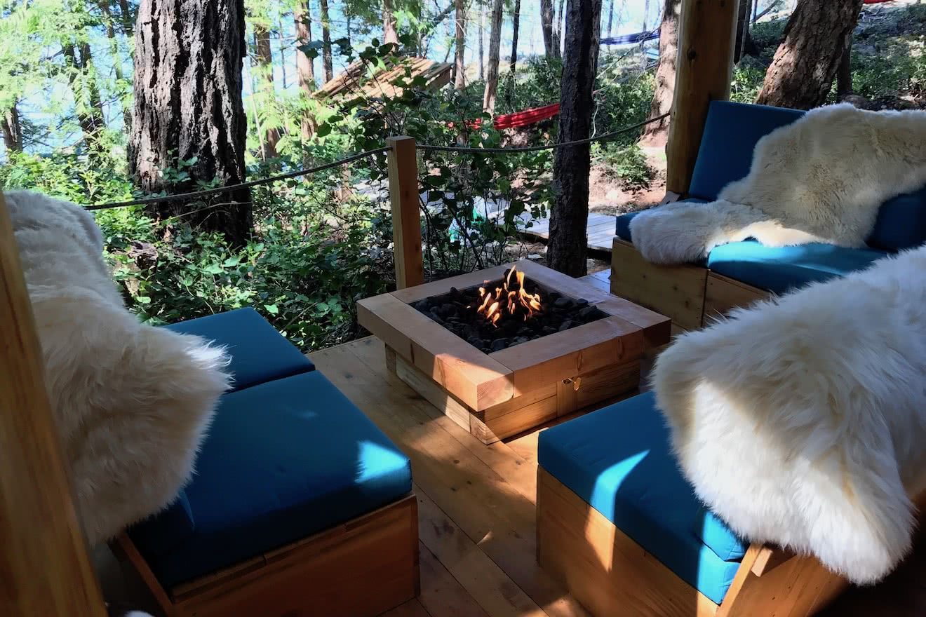 Propane fireplace providing comfort and warmth for guests at eco resort
