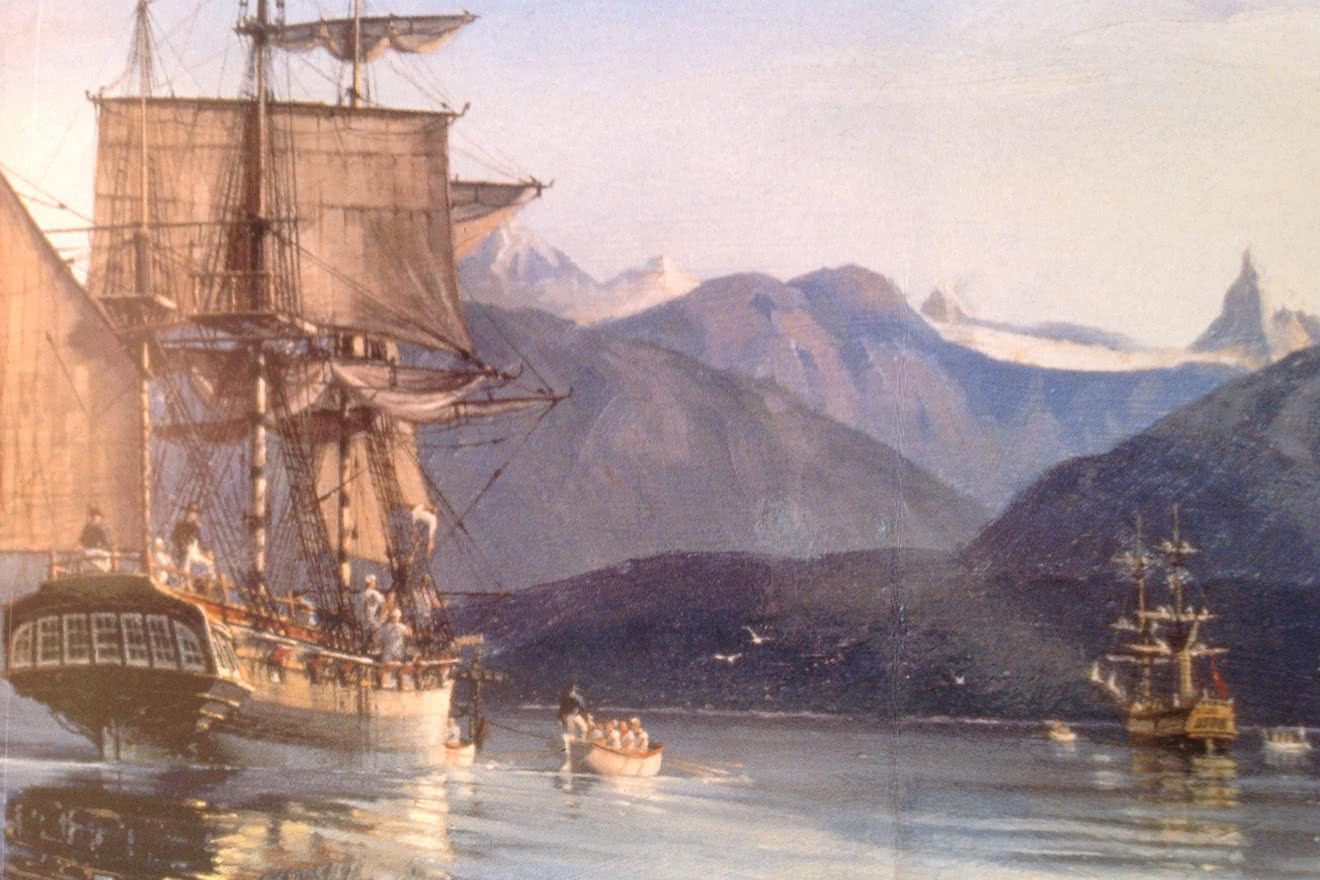 Artist's impression of George Vancouver in Desolation Sound in 1792
