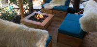 Our propane fireplace in the Cabana Cafe keeps guests warm no matter what the weather