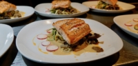 Salmon on a bed of local vegetables at Cabana Desolation Eco Resort