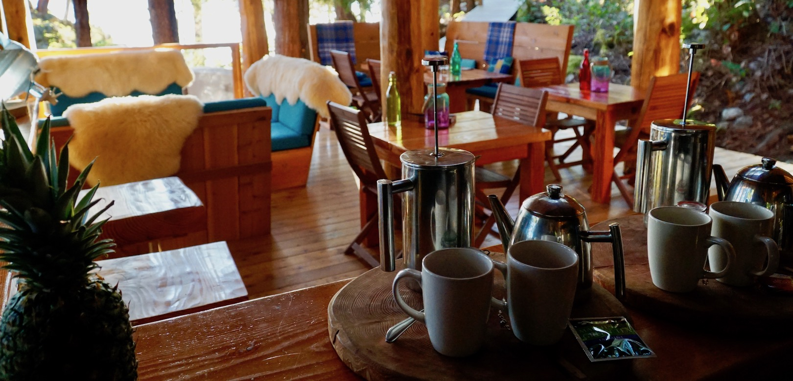 Two sets of tea and coffee waiting to be served at Cabana Desolation Eco Resort