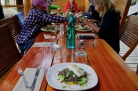 A meal of halibut and Soba Noodles at the Cabana Cafe
