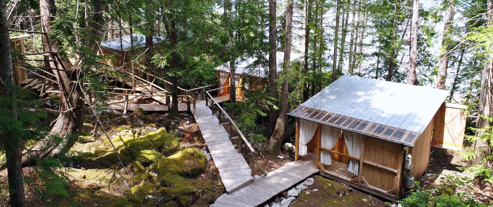 An aerial shot of 3 cabanas in the woods with a cedar boardwalk connecting them in Desolation Sound