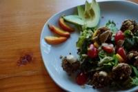 A tasty vegetarian quinoa black bean felafel salad