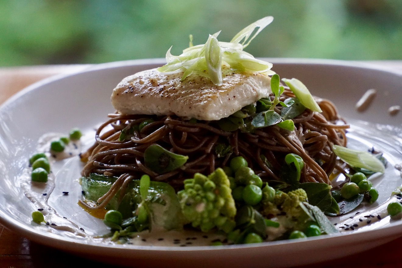 Seared Halibut on a bed of Soba noodles with grilled eggplant, baby bok choi, romanesco and locally sourced greens, with a tahini and black sesame sauce
