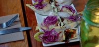 Endive boats with scallops and vegetables
