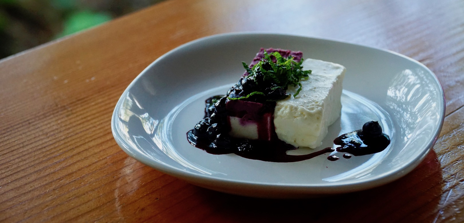 Tiramisu and Ice Cream with a blackberry sauce