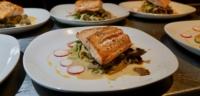 A salmon dinner being prepared at Cabana Desolation Eco Resort
